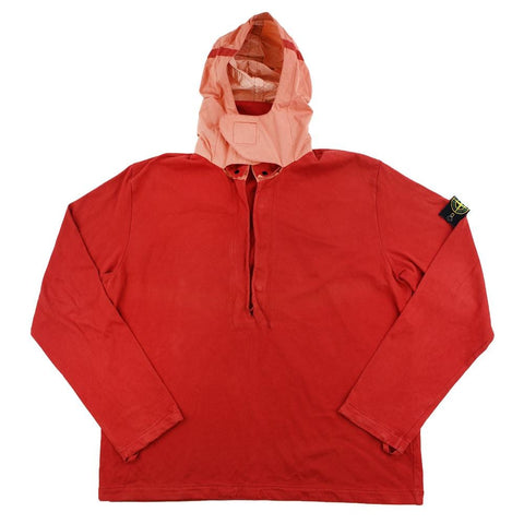 Stone Island SS 2001 Half Zip Hooded Jumper Red - SaruGeneral