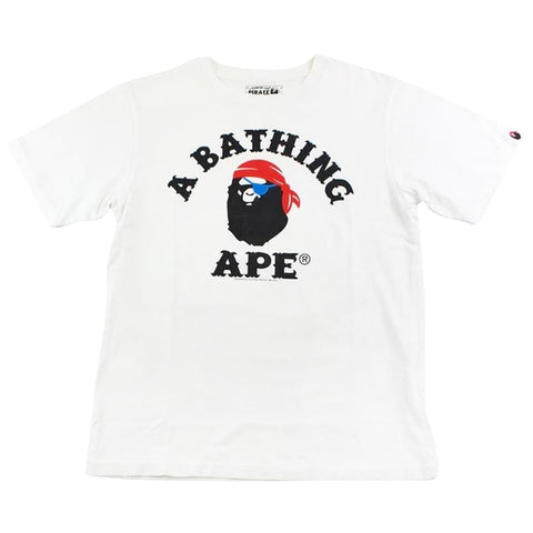 Bape pirate store college logo tee white - SaruGeneral