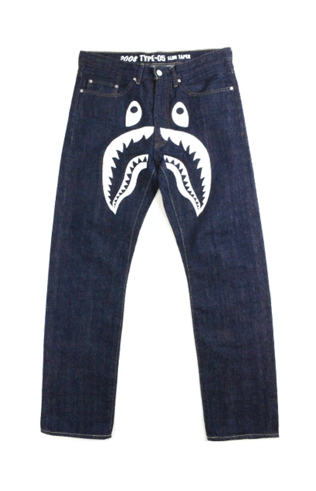 Bape Shark Face Dark Blue Denim Jeans - SaruGeneral