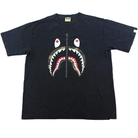 Bape 1st Green Camo Shark Face Tee Black - SaruGeneral