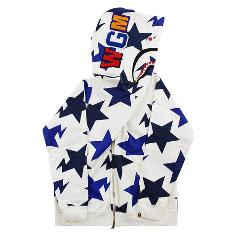 Bape Blue Bapesta Allover Shark Hoodie White
