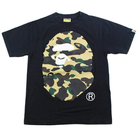 Bape 1st Yellow Big Ape Logo Tee Black - SaruGeneral