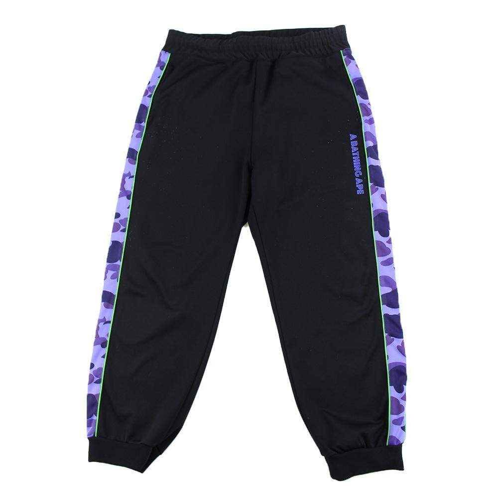 bape purple camo black track pants
