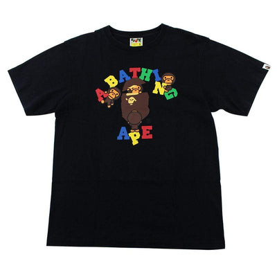 Bape Primary Colour Baby Milo College Logo Tee Black - SaruGeneral