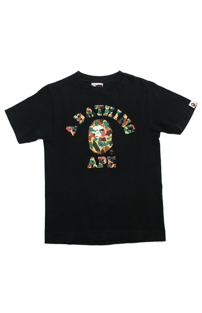 BAPE Duck Camo Angry College Logo Tee Black - SaruGeneral