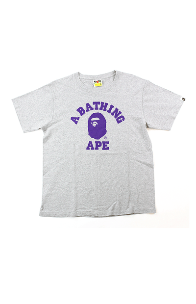 BAPE Purple College Logo Tee Grey - SaruGeneral