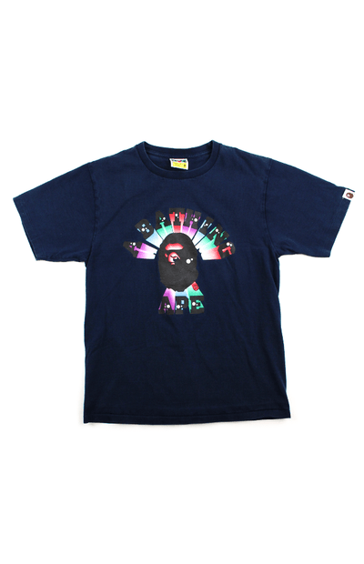Bape 3d lights college logo tee navy - SaruGeneral