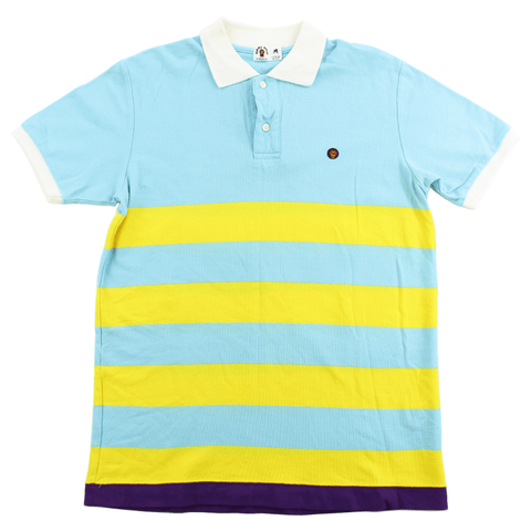Bape Baby Milo Polo Shirt Blue Yellow Stripe - SaruGeneral
