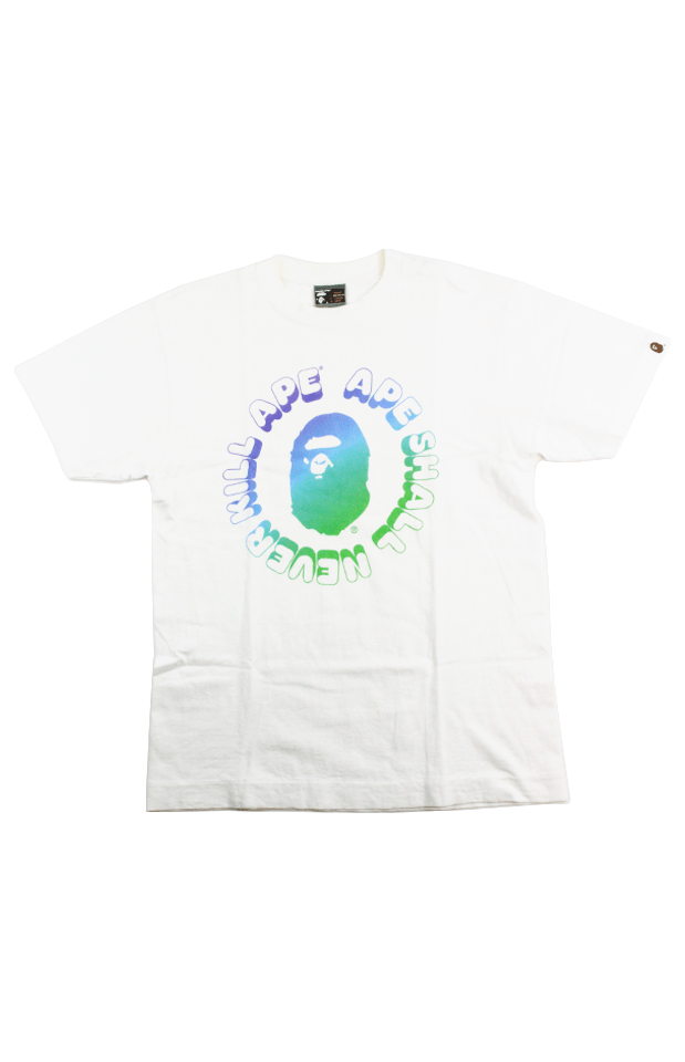 Bape Green Blue Gradient Busy Works Tee White - SaruGeneral