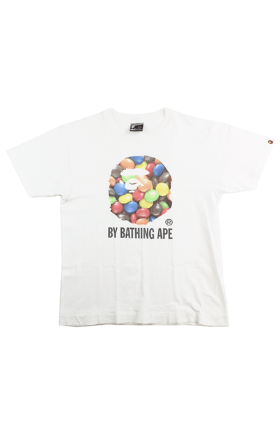 Bape M&M Big Ape Logo Tee White - SaruGeneral