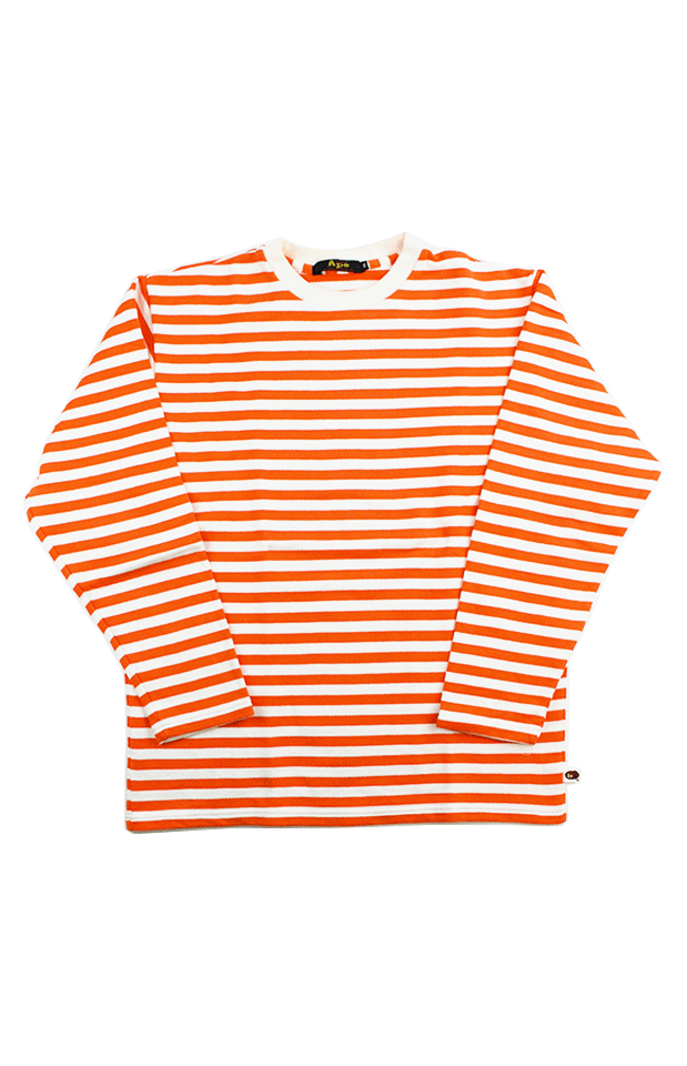 Bape Orange Stripe LS White - SaruGeneral