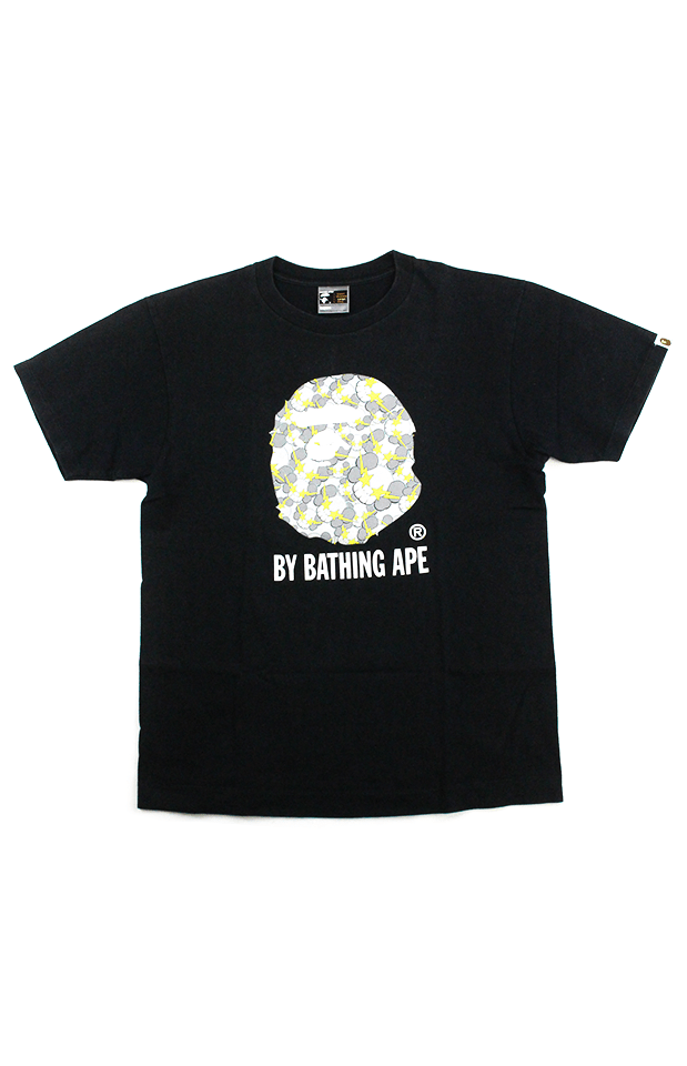 Bape x Kaws Yellow Big Ape Tee Black - SaruGeneral