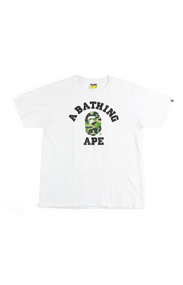 Bape 1st ABC green Camo college logo Tee White - SaruGeneral
