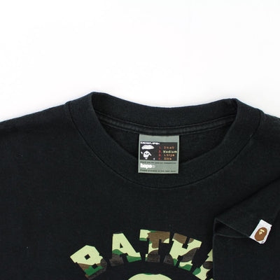 Bape 1st Green Camo Angry Face College Logo Tee Black - SaruGeneral