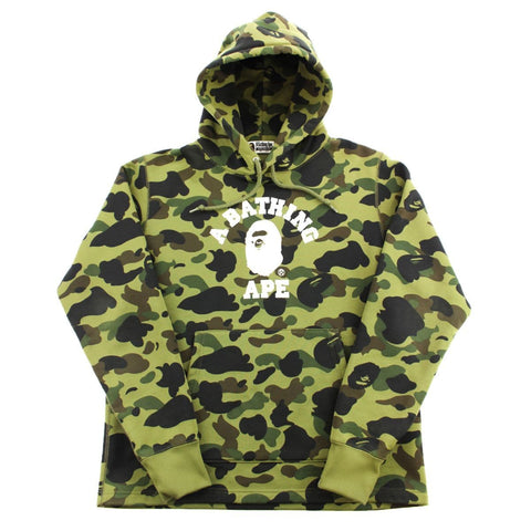 Bape 1st Green Camo College Logo Hoodie - SaruGeneral