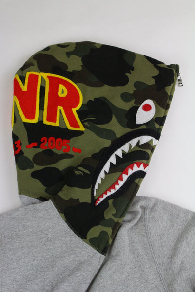 Bape 1st Green Camo Shark Face Hoodie Grey - SaruGeneral
