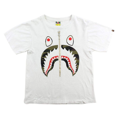 Bape 1st Green Camo Shark Face Tee White