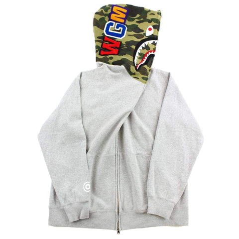 Bape 1st Green Camo Shark Hoodie Grey - SaruGeneral
