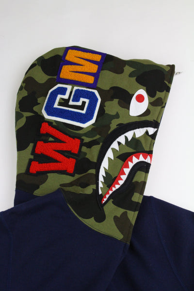 Bape 1st Green Camo half face Shark Hoodie Navy - SaruGeneral