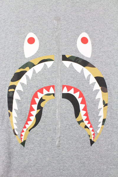 Bape 1st Yellow Camo Shark Face Tee Grey - SaruGeneral