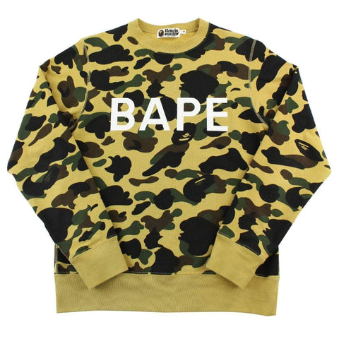 Bape 1st Yellow Camo Text Crewneck - SaruGeneral