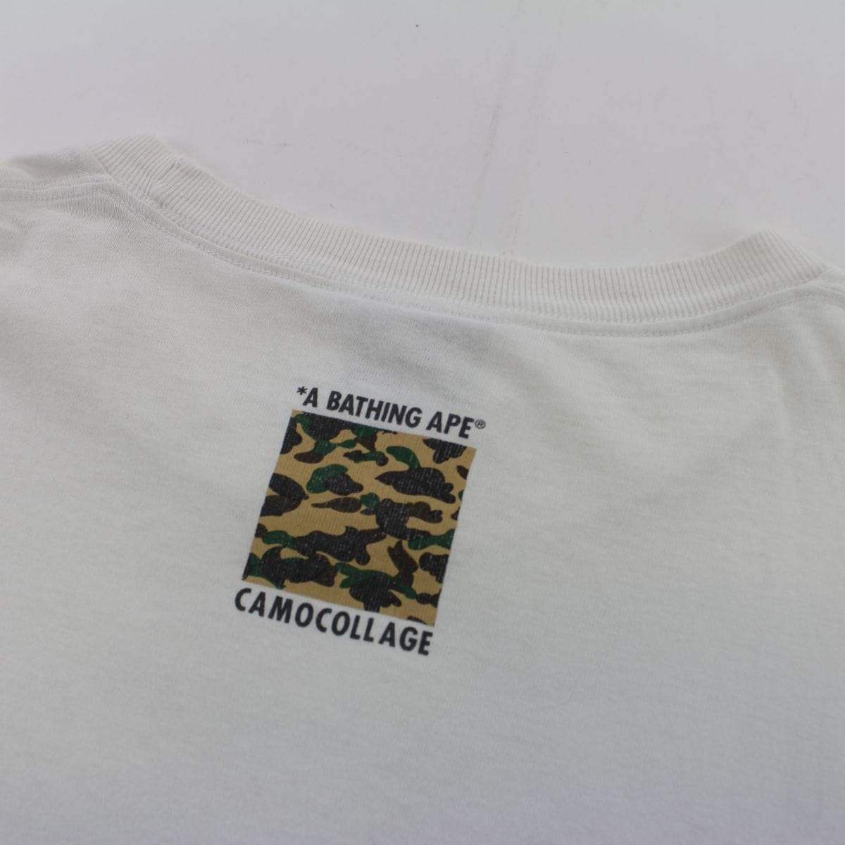 Bape 1st Yellow Outline College Logo Tee White - SaruGeneral