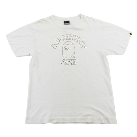 Bape 1st Yellow Outline College Logo Tee White