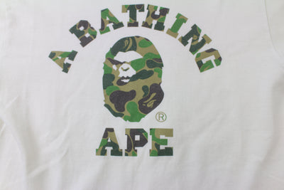Bape ABC Green Camo Angry Face College Logo Tee White - SaruGeneral