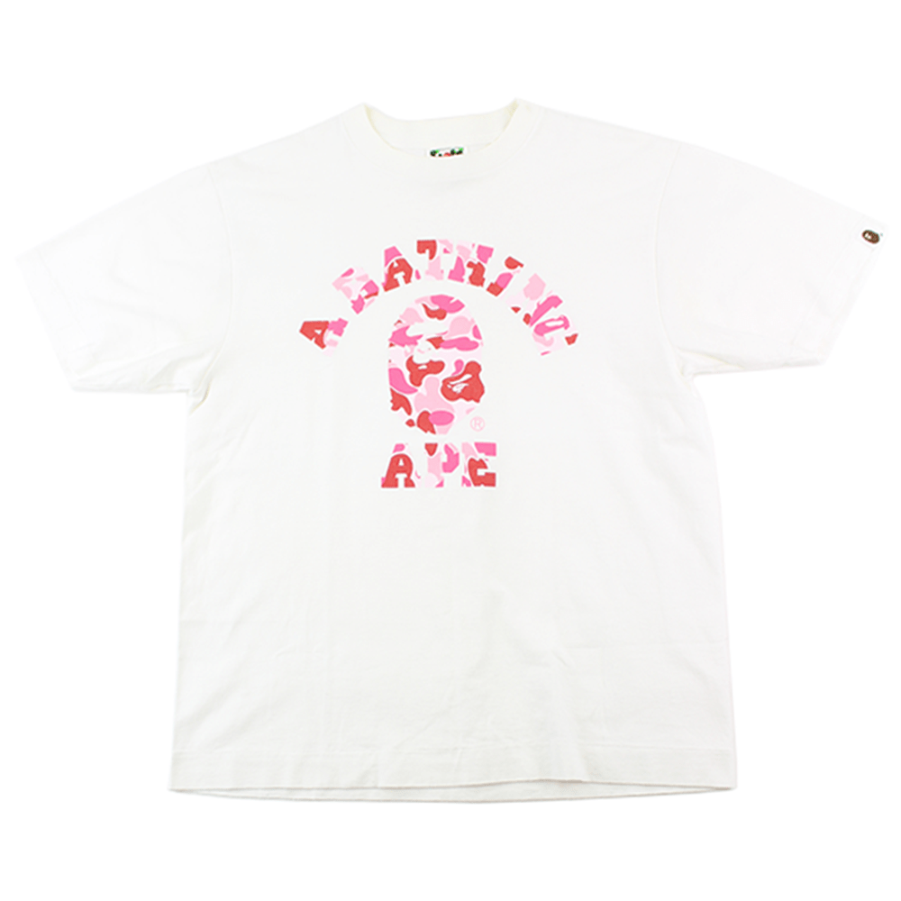 Bape ABC Pink Camo College Logo Tee White - SaruGeneral
