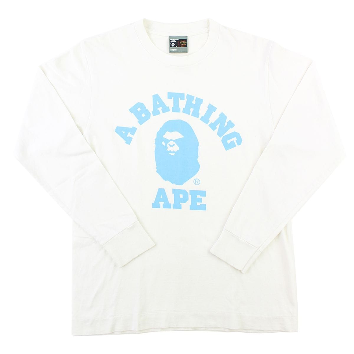 Bape Baby Blue Angry Face College Logo LS White - SaruGeneral
