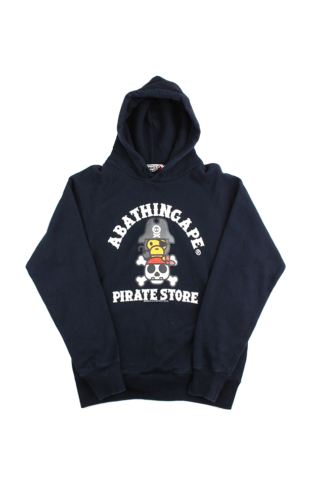 Bape Baby MiloPirate Store College Logo Hoodie Black - SaruGeneral