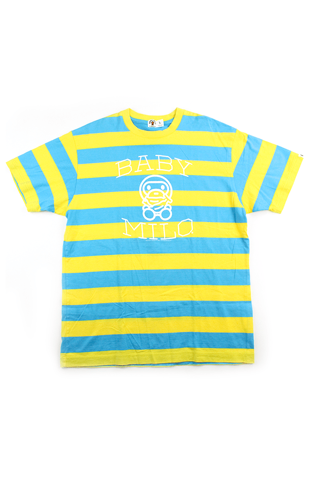 Bape Baby Milo Blue & Yellow Stripe Tee - SaruGeneral