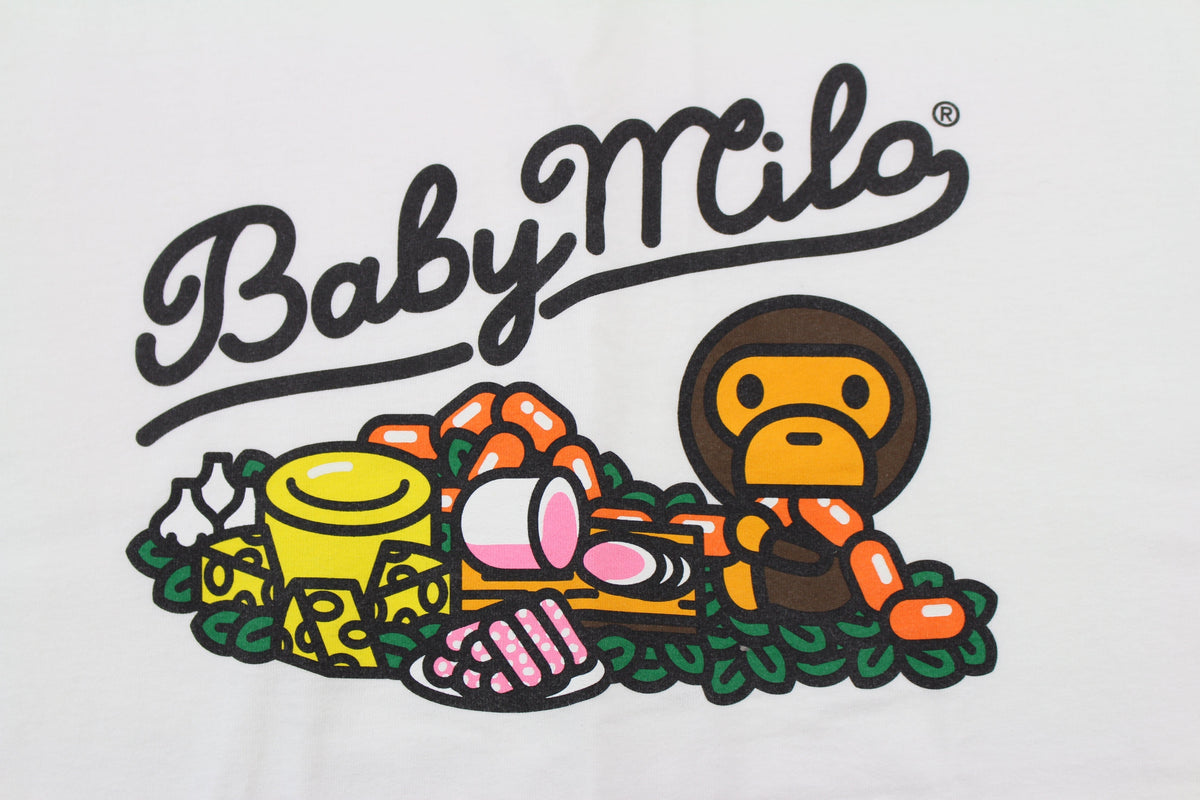 Bape Baby Milo Food LS White - SaruGeneral