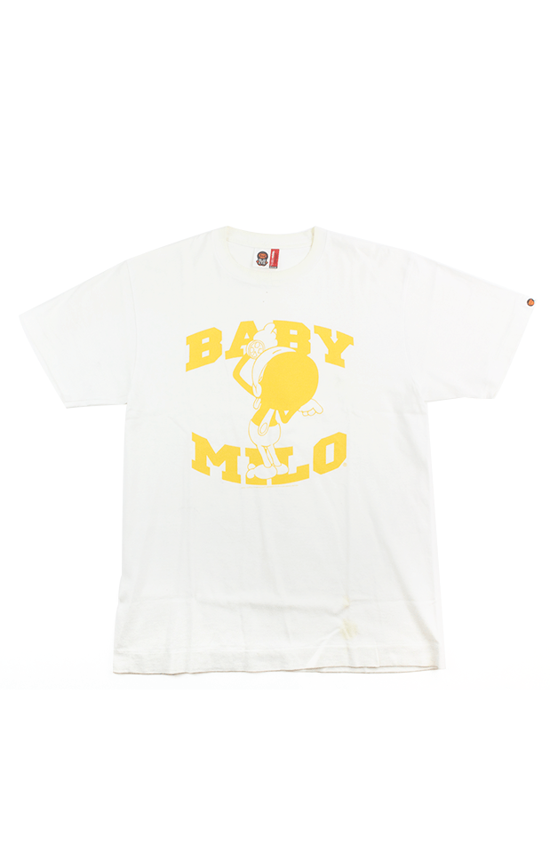 Bape Baby Milo Yellow Arc Text Tee White - SaruGeneral