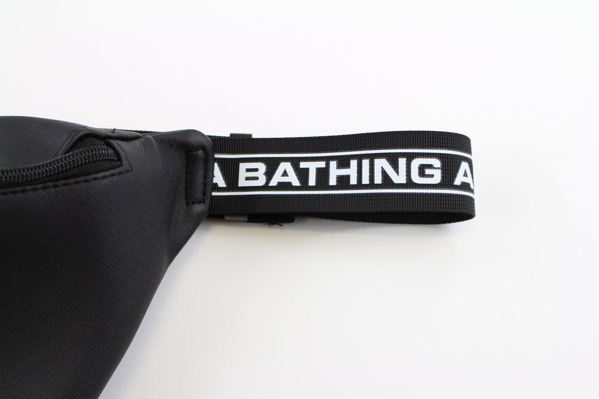Bape Black Bathing Ape Text Hip Bag - SaruGeneral