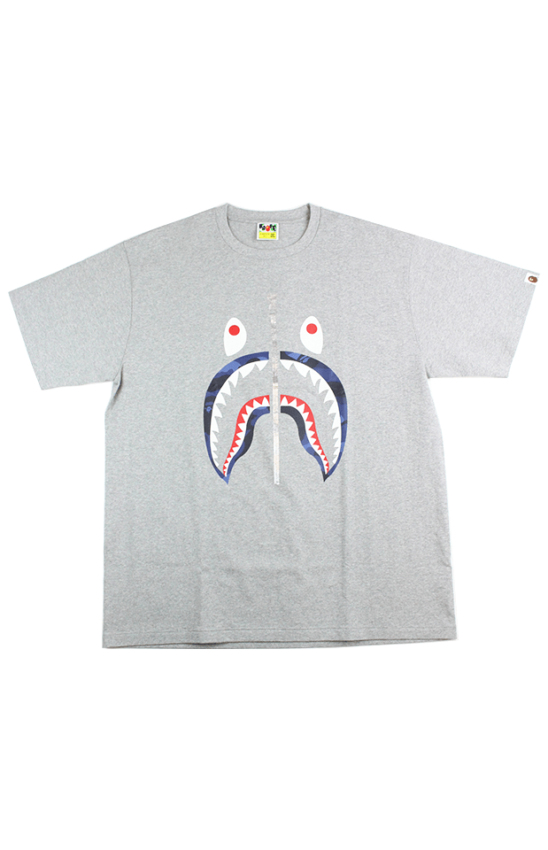 Bape Blue Camo Shark Face Tee Grey - SaruGeneral