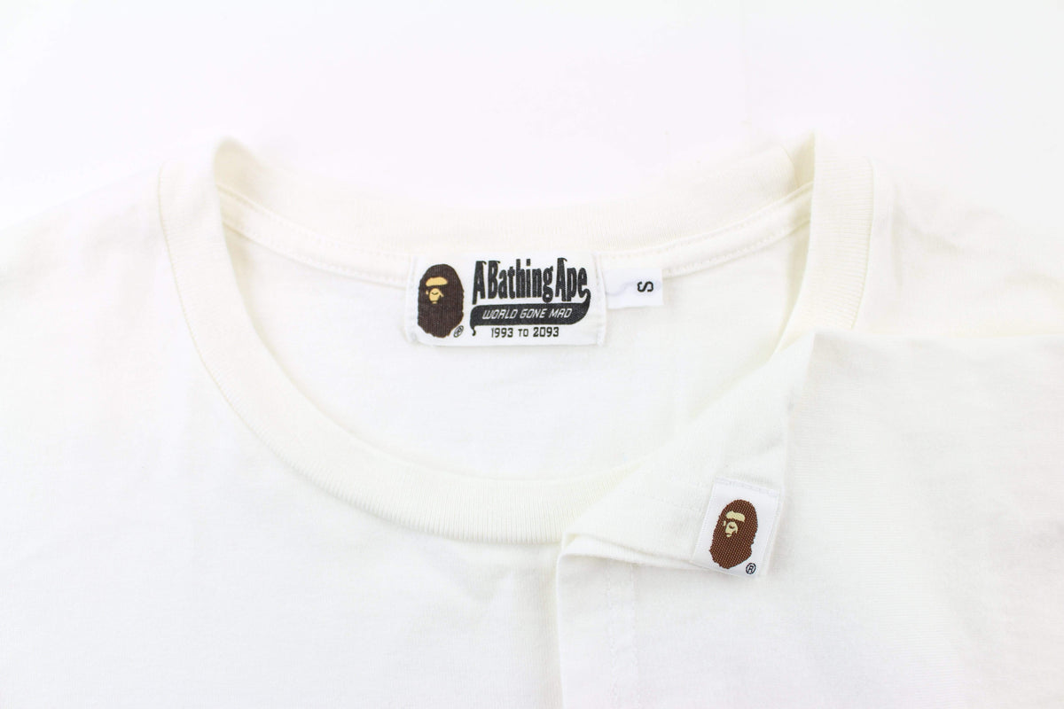 Bape point head Checkered Pocket Tee White - SaruGeneral