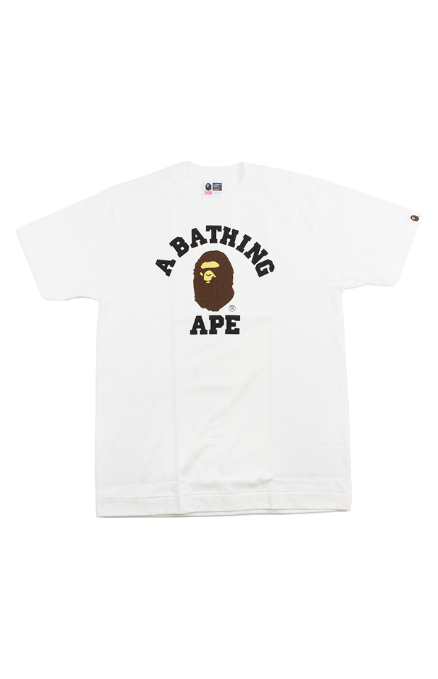 Bape Classic College Logo Tee White - SaruGeneral