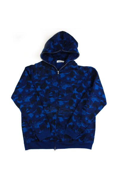 Bape Flame Blue Camo Full Zip Hoodie - SaruGeneral
