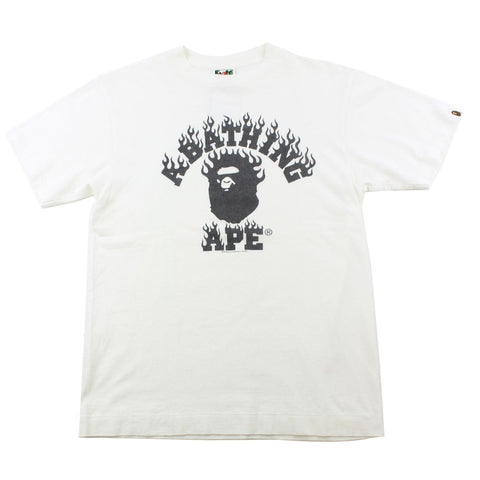 Bape Black Flame College Logo Tee White