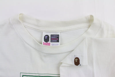 Bape Green busy works 3D Text Tee White - SaruGeneral
