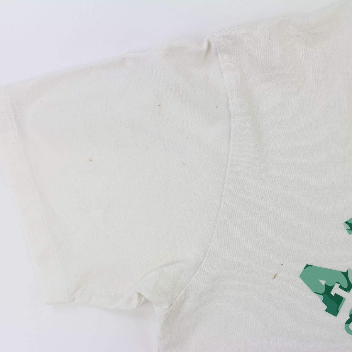 Bape Membership Exclusive Dark Green Camo College Logo Tee White - SaruGeneral