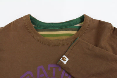 Bape Green Striped Reverse purple sta College Logo LS - SaruGeneral