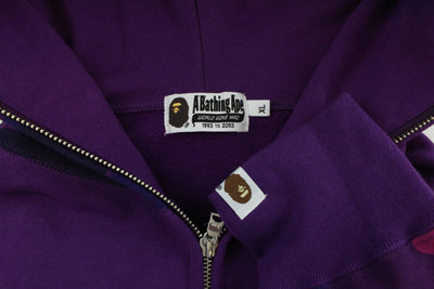 Bape Half Purple Camo Shark Hoodie Purple - SaruGeneral