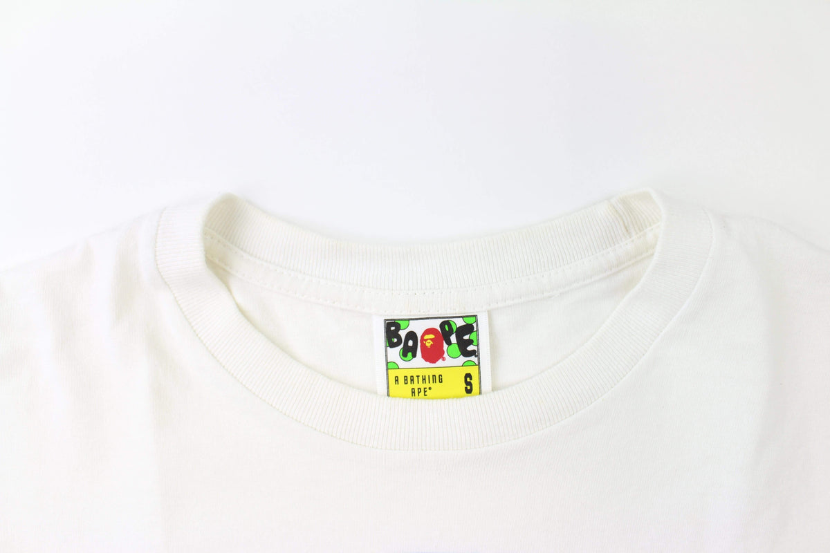 Bape Heat College Logo Tee White - SaruGeneral