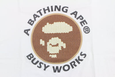 Bape Knitting busy works Ape Logo Tee White - SaruGeneral