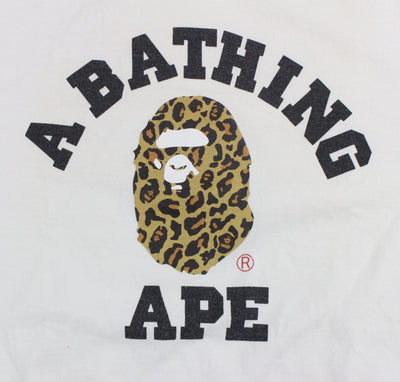 Bape Leopard Print College Logo Tee White - SaruGeneral