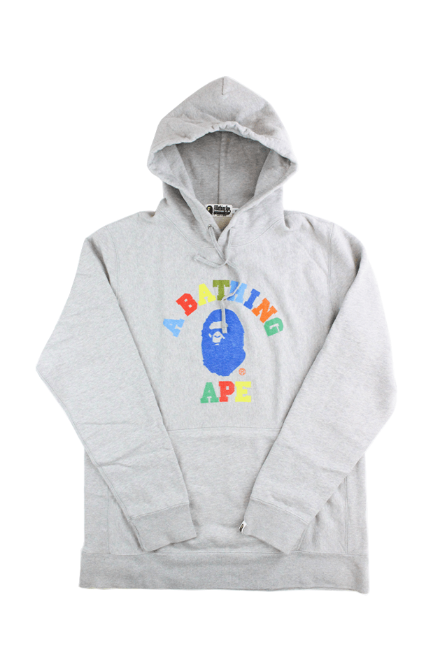 Bape Multicolour text College Logo Hoodie Grey - SaruGeneral