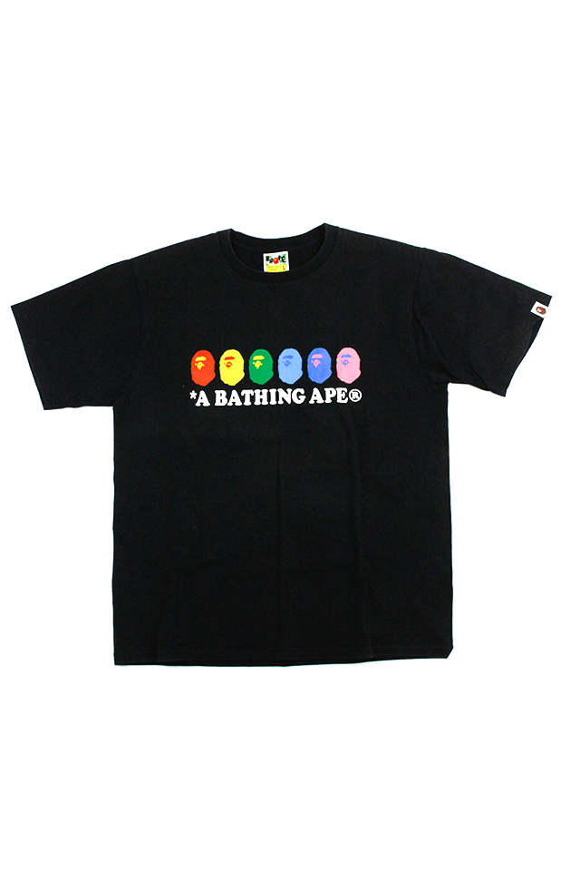 Bape Multicoloured Big Ape logos Tee Black - SaruGeneral