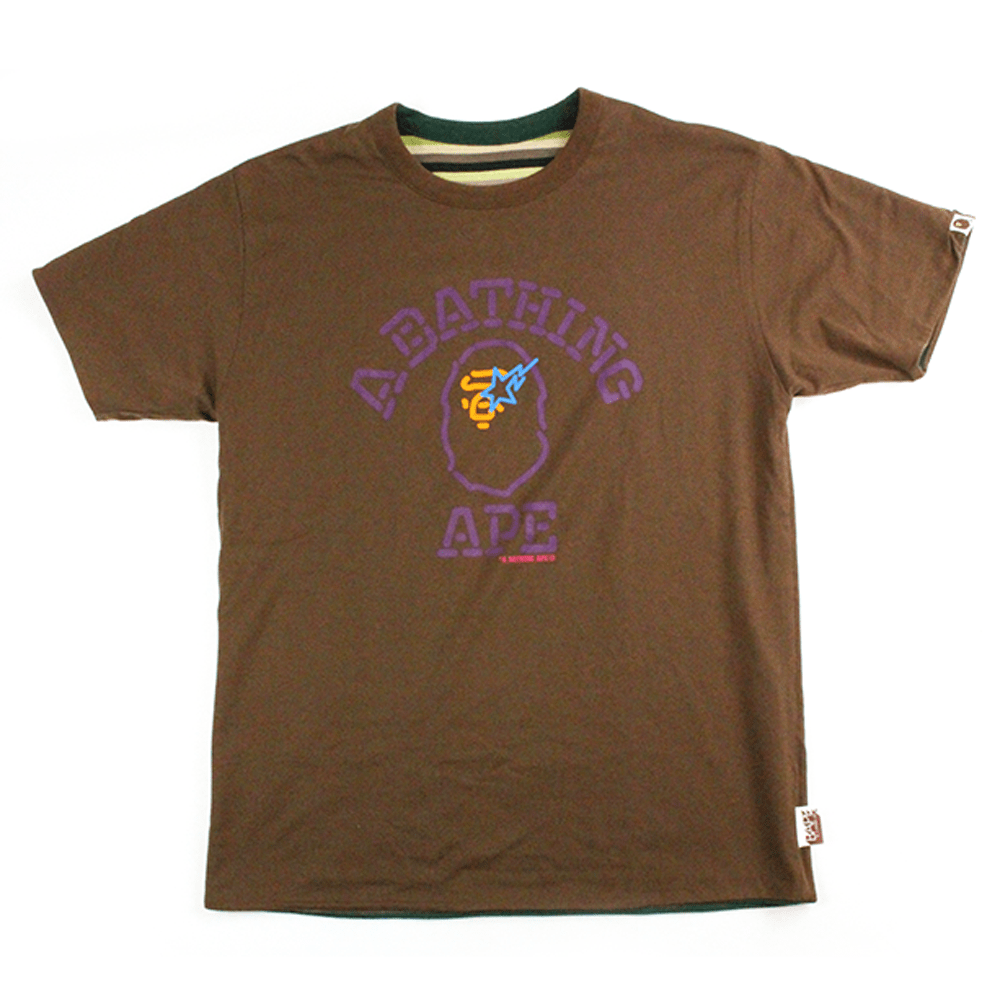 Bape Neon College Logo Reversible Tee Brown - SaruGeneral